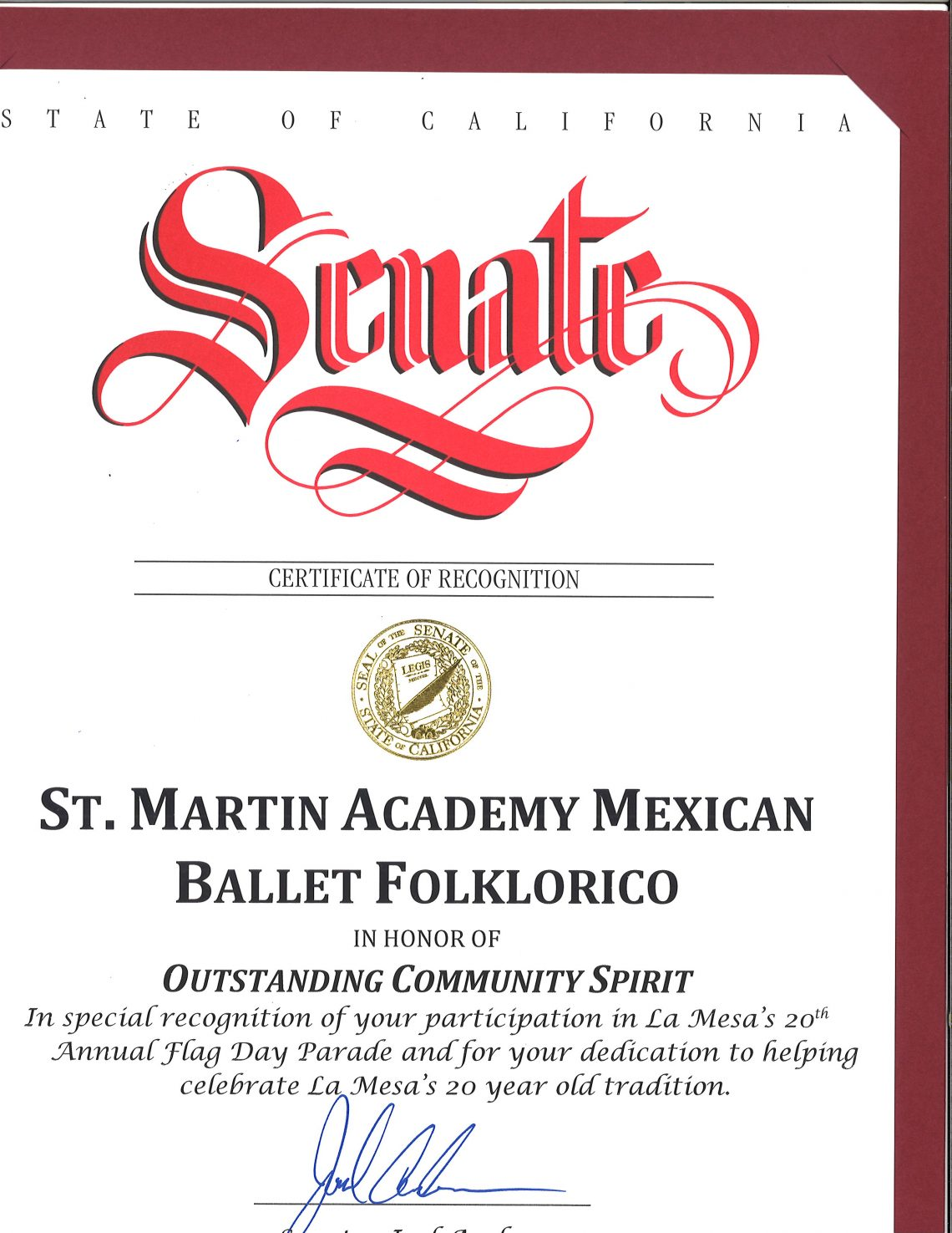certificate of recognition st martin of tours academy